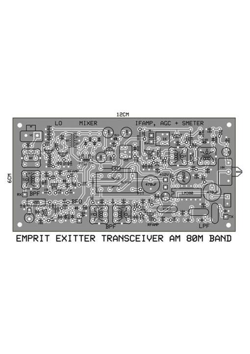 PCB EMPRIT EXITER TRANSCEVER AM 80 M BAND